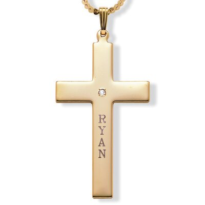 Round Cubic Zirconia Personalized Cross Pendant