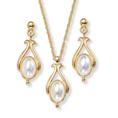 Gold Plated Simulated Oval Pearl Pendant and Earring Set
