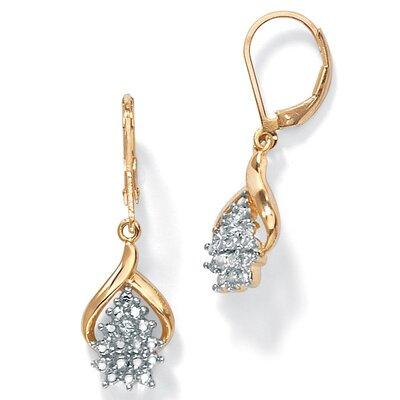 18k Gold/Silver Diamond Accent Pierced Earrings
