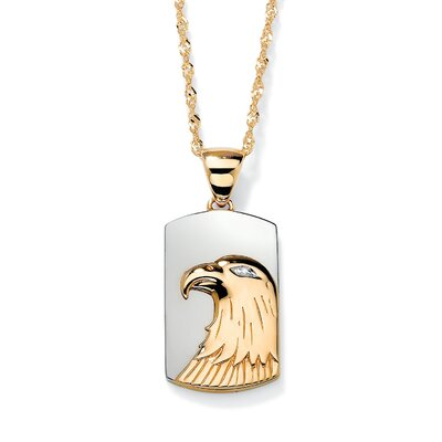 Palm Beach Jewelry 18k Gold/Silver Men's Diamond Accent Eagle Pendant