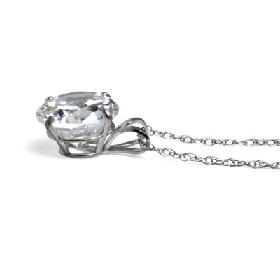 Palm Beach Jewelry 10k White Gold Round Cubic Zirconia Pendant