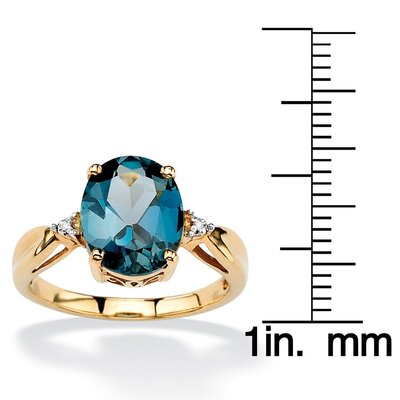 Palm Beach Jewelry 18k Gold/Silver London Blue Topaz Ring