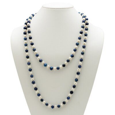 Palm Beach Jewelry Navy Blue and White Pearl Necklace