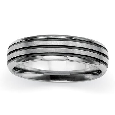 Titanium/Black Ruthenium Brushed Wedding Band