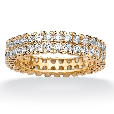 18k Gold/Silver Round Cubic Zirconia Double-Row Eternity Band