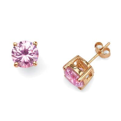 Palm Beach Jewelry 14k Gold Plated Pink Cubic Zirconia Stud Earrings