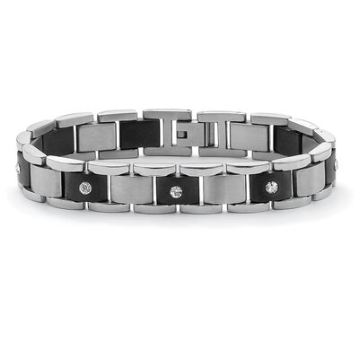 Stainless Steel Men's Crystal Bar-Link Bracelet
