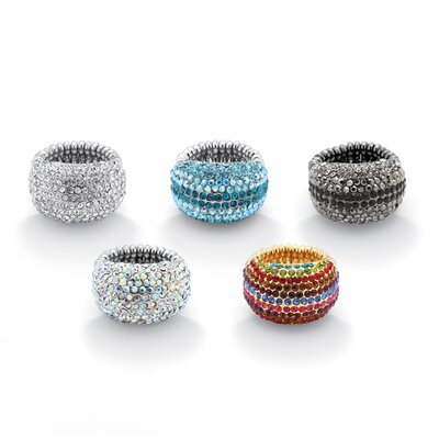 Palm Beach Jewelry Silvertone Crystal Dome Rings (Set of 5)