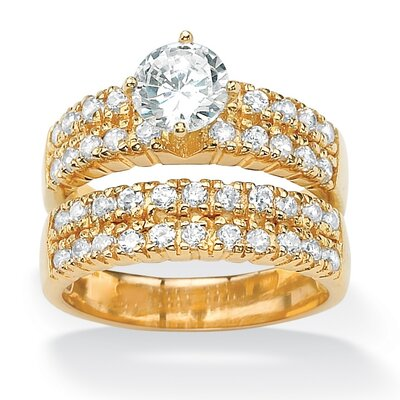 18k Gold/Silver Round Cubic Zirconia Double-Row Wedding Ring Band Set