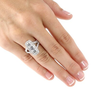 Palm Beach Jewelry Cubic Zirconia Platinum / Sterling Silver Round Ring