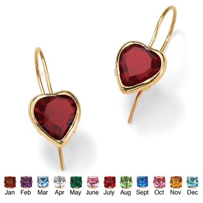 Palm Beach Jewelry Heart - Shaped Birthstone Earrings