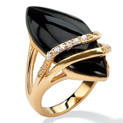 Marquise-Shaped Onyx and Cubic Zirconia Ring