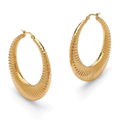 Palm Beach Jewelry Ribbed Hoop Pierced Earrings
