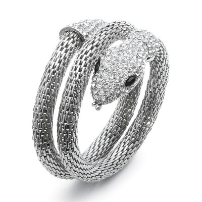 Palm Beach Jewelry Crystal Coiled Snake Mesh Bracelet