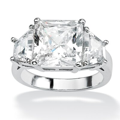 Princess and Baguette Cubic Zirconia Ring