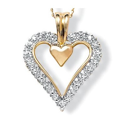 Palm Beach Jewelry 10K Gold Round Diamond Heart Pendant
