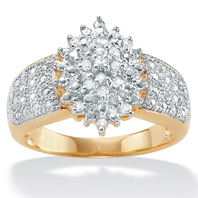 18k Sterling Silver Diamond Cluster Ring