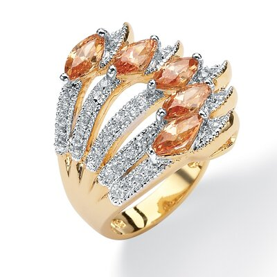Palm Beach Jewelry 14k Gold Plated Marquise Cubic Zirconia Ring