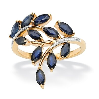 Palm Beach Jewelry Sterling Silver Marquise and Round Sapphire and Diamond Accent Ring