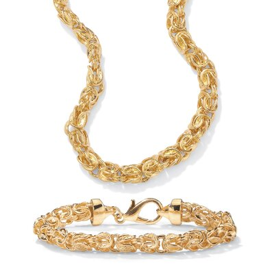 Palm Beach Jewelry 14k Gold Byzantine-Link Jewelry Set