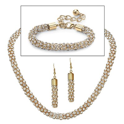 Palm Beach Jewelry 14k Yellow Gold Round Crystal Jewelry Set