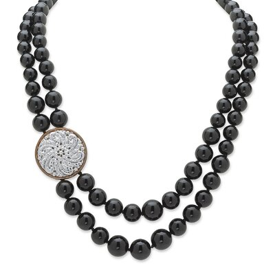 Palm Beach Jewelry Silvertone Round Cut Onyx Strand Necklace