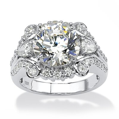 Platinum Over Silver Round Cut Cubic Zirconia Ring