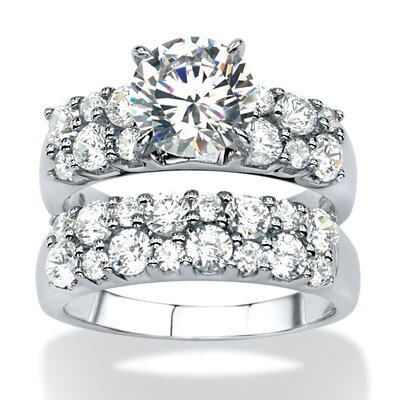 2 Piece Platinum Over Silver Cubic Zirconia Ring Set