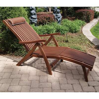 Outdoor Interiors Eucalyptus Venetian 5 Position Lounger with Ottoman