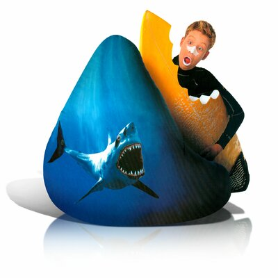 Big Shots Large Twill Shark Teardrop Bean Bag Chair