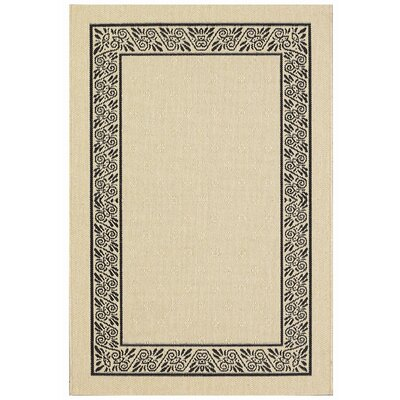 Direct Home Textiles Four Seasons Natural/Black Ornate Scroll Rug
