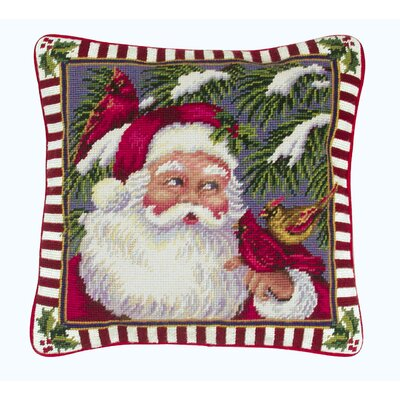 Santa with Cardinals Needlepoint Pillow