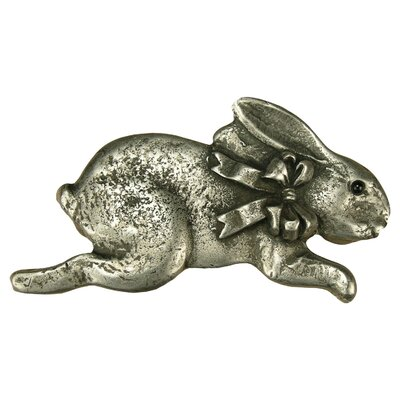 Anne at Home Curiosities Bunny with Bow Pull in Distressed Pewter Matte