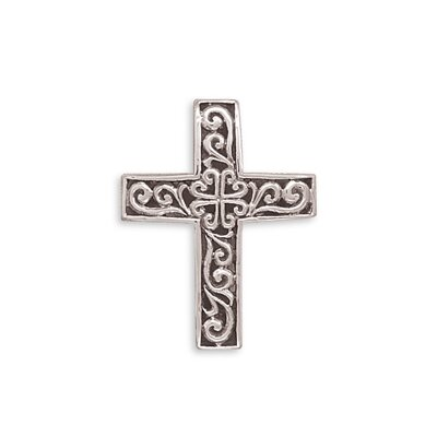 Filigree Design Polished Silver Reversible Cross Slide Sterling Silver Reversible Cross Slide Charm