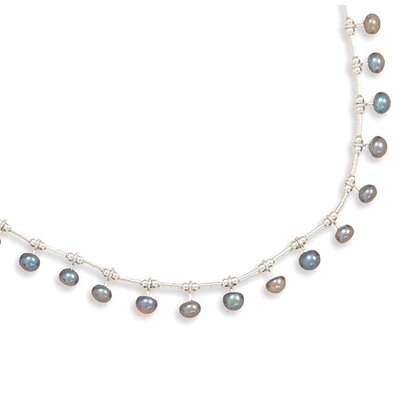 Jewelryweb Sterling Silver 16 Inch Liquid Silver With 15 Cultured Freshwater Pearls Necklace