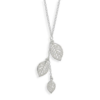 Jewelryweb Sterling Silver 16.5 Inch Necklace With Three Leaf Drop