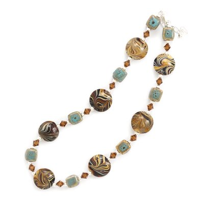 Sterling Silver 16 Inch+2 InchNecklace Austrian Crystals Ceramic Brown Swirl Glass Beads - 16 ...