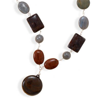 Jewelryweb Sterling Silver 15 Inch+3 InchJasper and Labradorite Necklace - 15 Inch