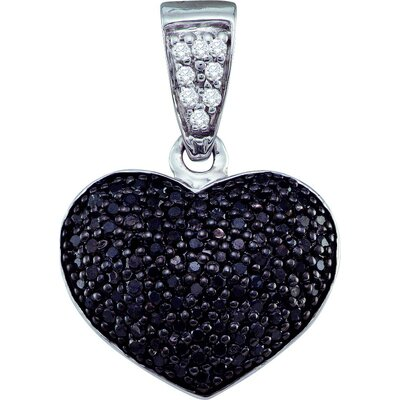 Jewelryweb 10k White Gold 0.55 Dwt Diamond Heart Pendant