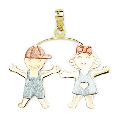 Jewelryweb 14k Yellow White and Rose Gold Boy And Girl Pendant- Measures 31x32mm- 31 Inch