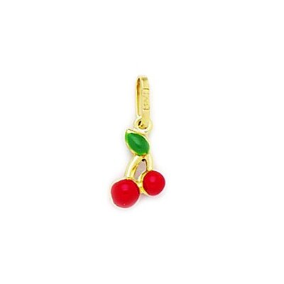 14k Yellow Gold Red Enamel Cherry Pendant- Measures 16x7mm- 16 Inch
