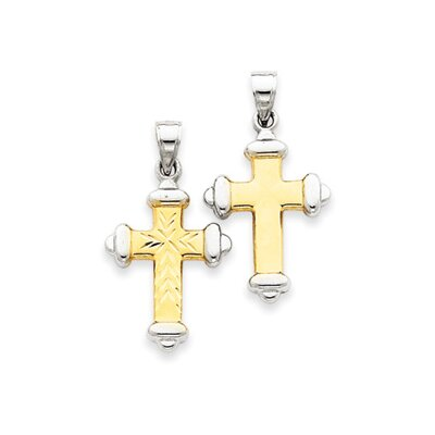 14k and Rhodium Reversible Diamond-Cut Cross Pendant- Measures 29.2x36.2mm