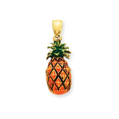 14k Enameled Pineapple Pendant