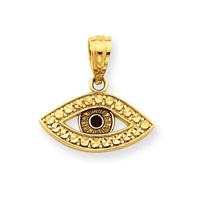 14K Polished and Rhodium Enameled Eye Pendant