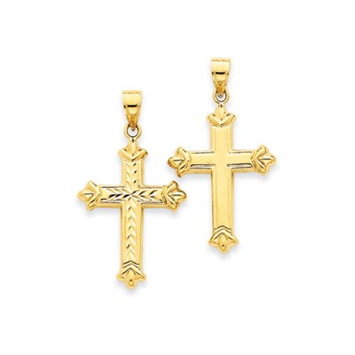 14k Reversible Diamond-Cut Cross Pendant- Measures 35.1x40.6mm