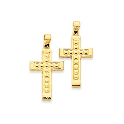 14k Reversible Diamond-Cut Cross Pendant- Measures 38x19mm