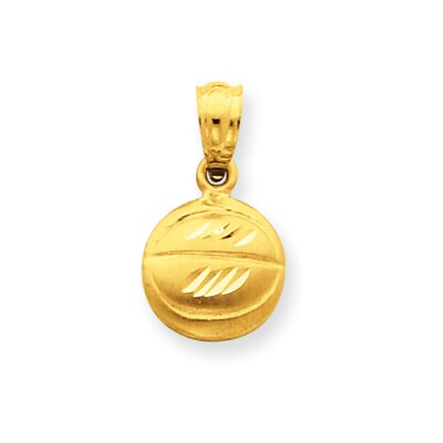 14k Satin and Diamond-Cut Basketball Pendant