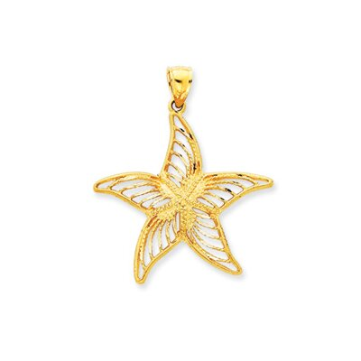 14k Satin Filigree Starfish Pendant