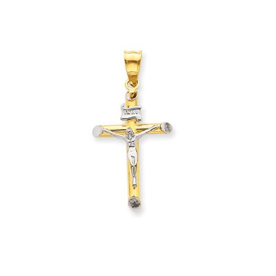 14k Two-tone and Rhodium INRI Crucifix Pendant- Measures 33.1x16.5mm