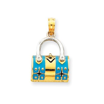 14k Two-tone Aqua Enameled Purse Pendant